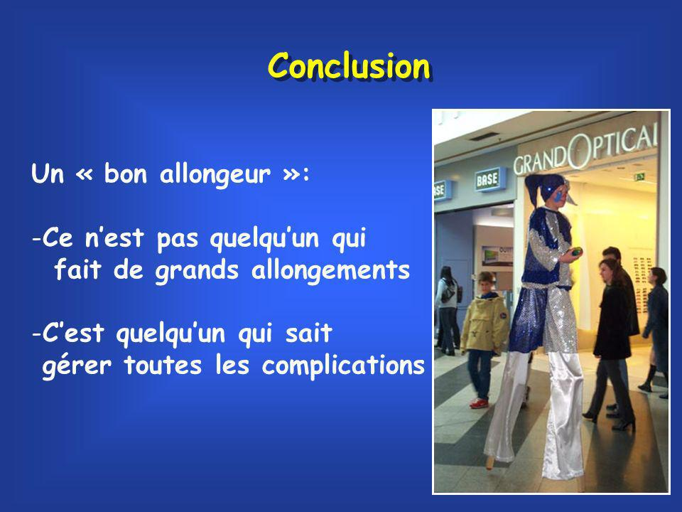 Conclusion Un « bon allongeur »: