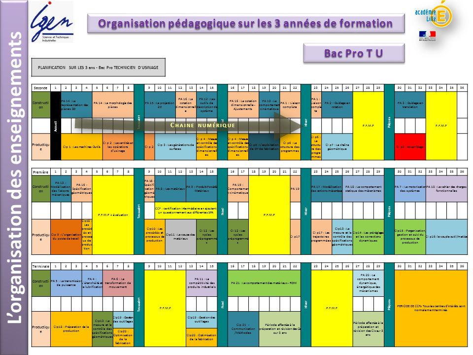L'organisation des enseignements