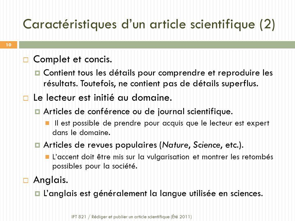 Caractéristiques d'un article scientifique (2)