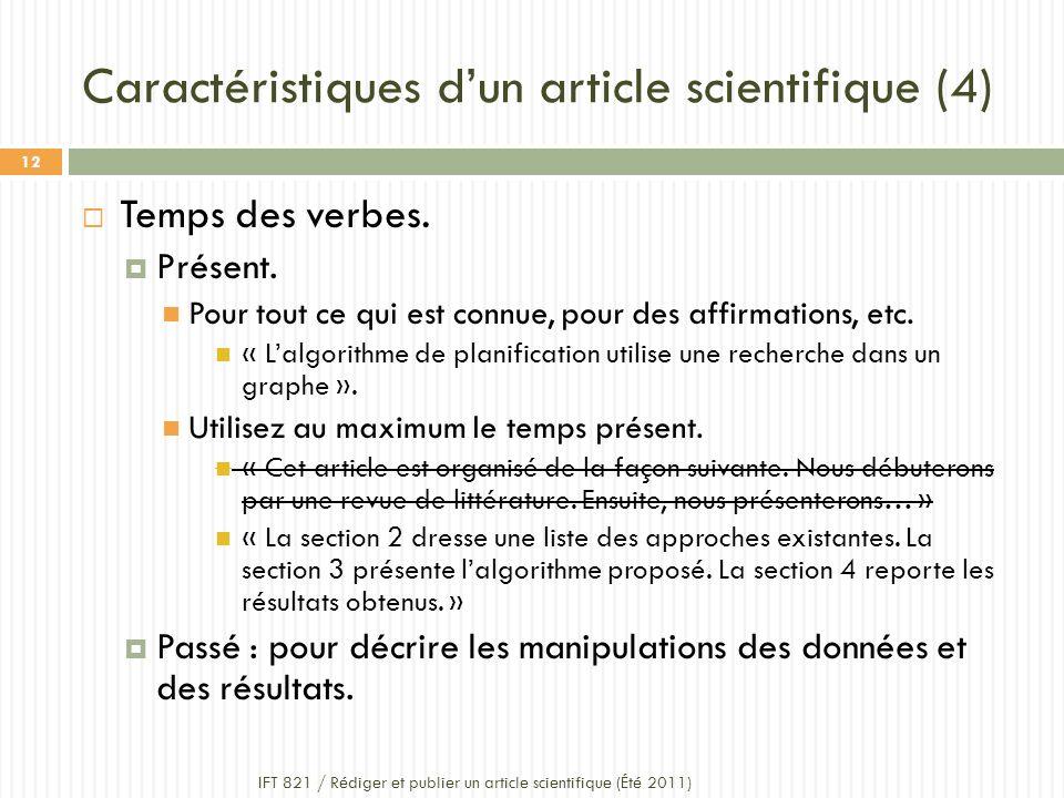 Caractéristiques d'un article scientifique (4)