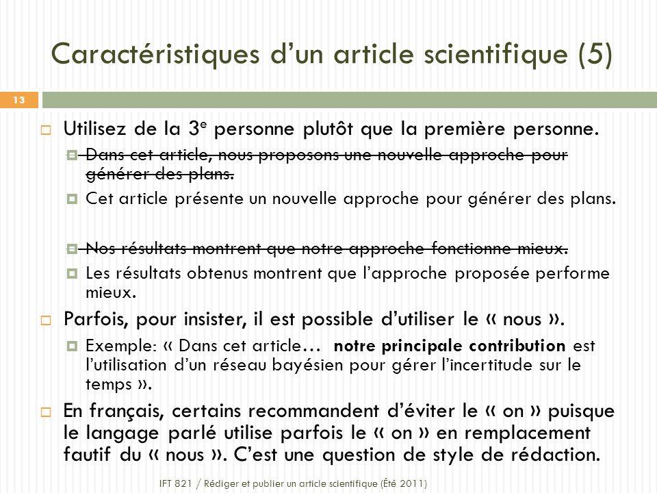 Caractéristiques d'un article scientifique (5)