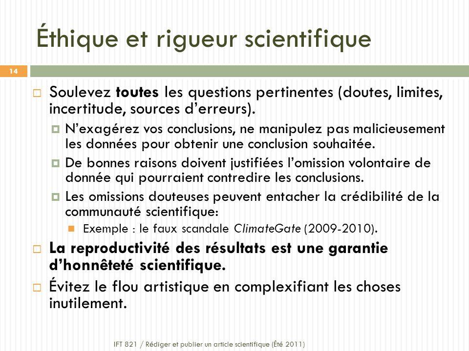 Éthique et rigueur scientifique