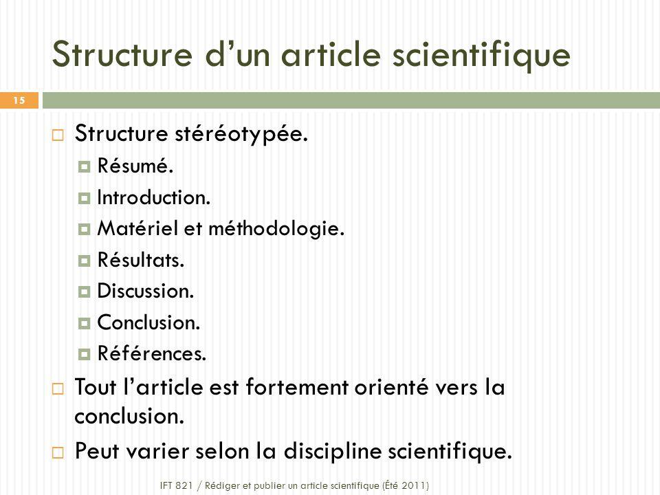 Structure d'un article scientifique