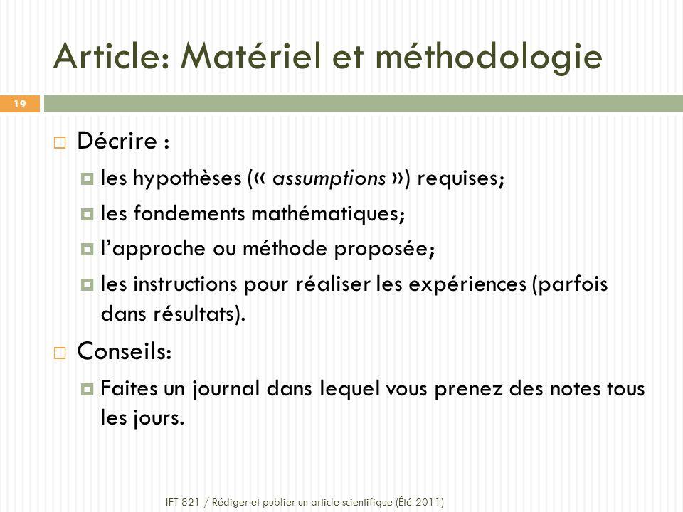 Article: Matériel et méthodologie