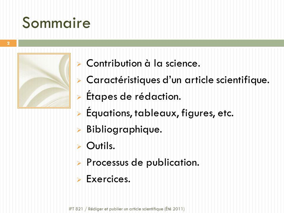 Sommaire Contribution à la science.