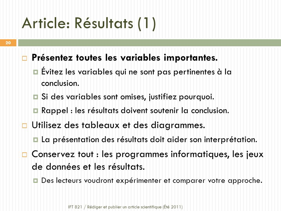 Article: Résultats (1) Présentez toutes les variables importantes.
