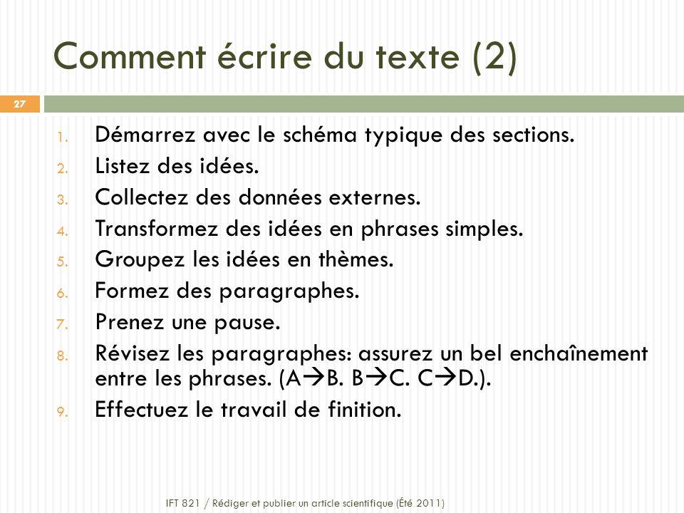 Comment écrire du texte (2)