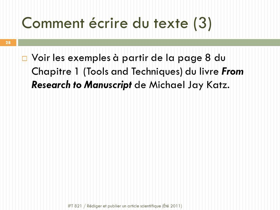 Comment écrire du texte (3)