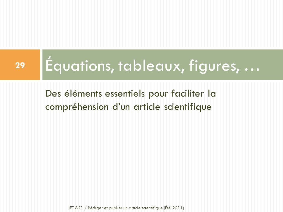 Équations, tableaux, figures, …