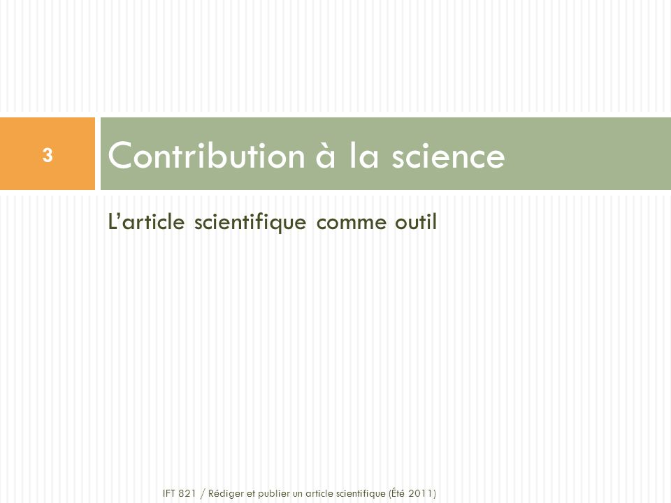 Contribution à la science