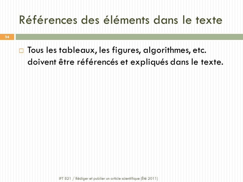Références des éléments dans le texte