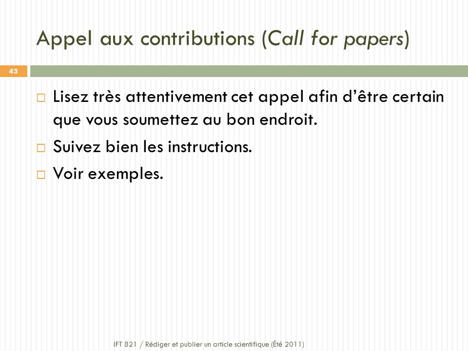 Appel aux contributions (Call for papers)