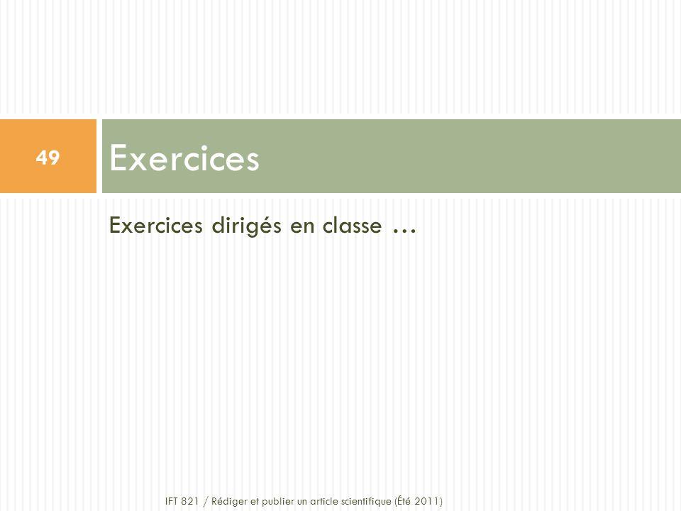 Exercices Exercices dirigés en classe …