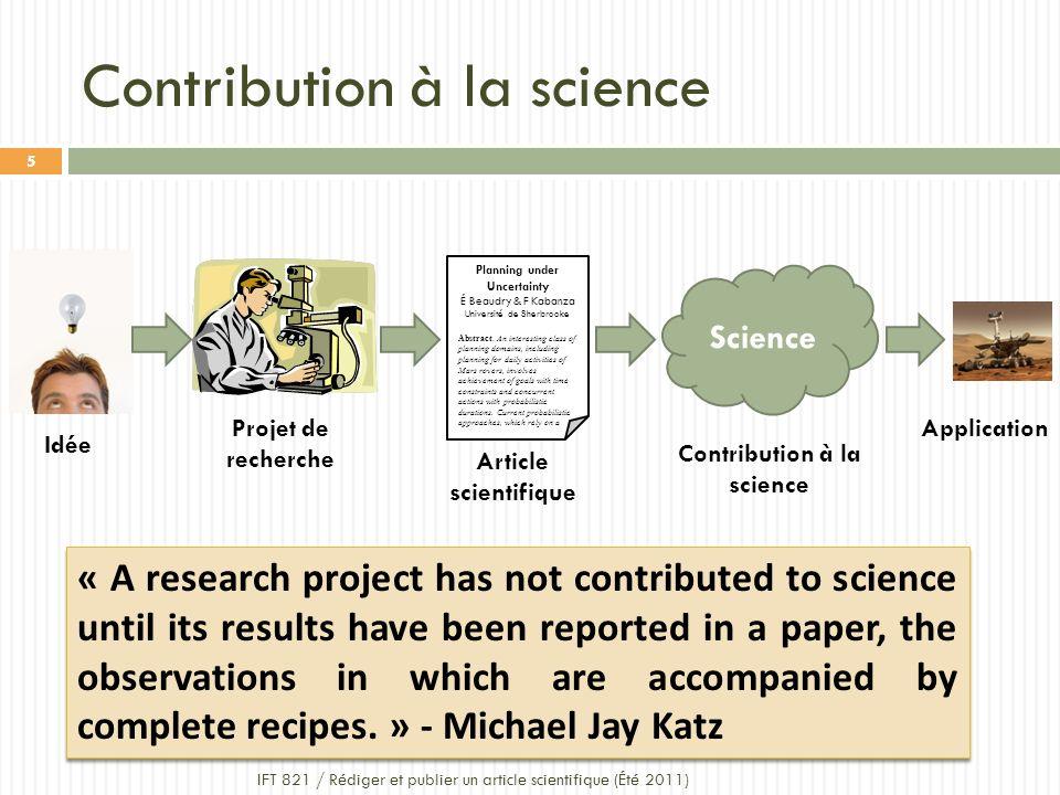 Contribution à la science