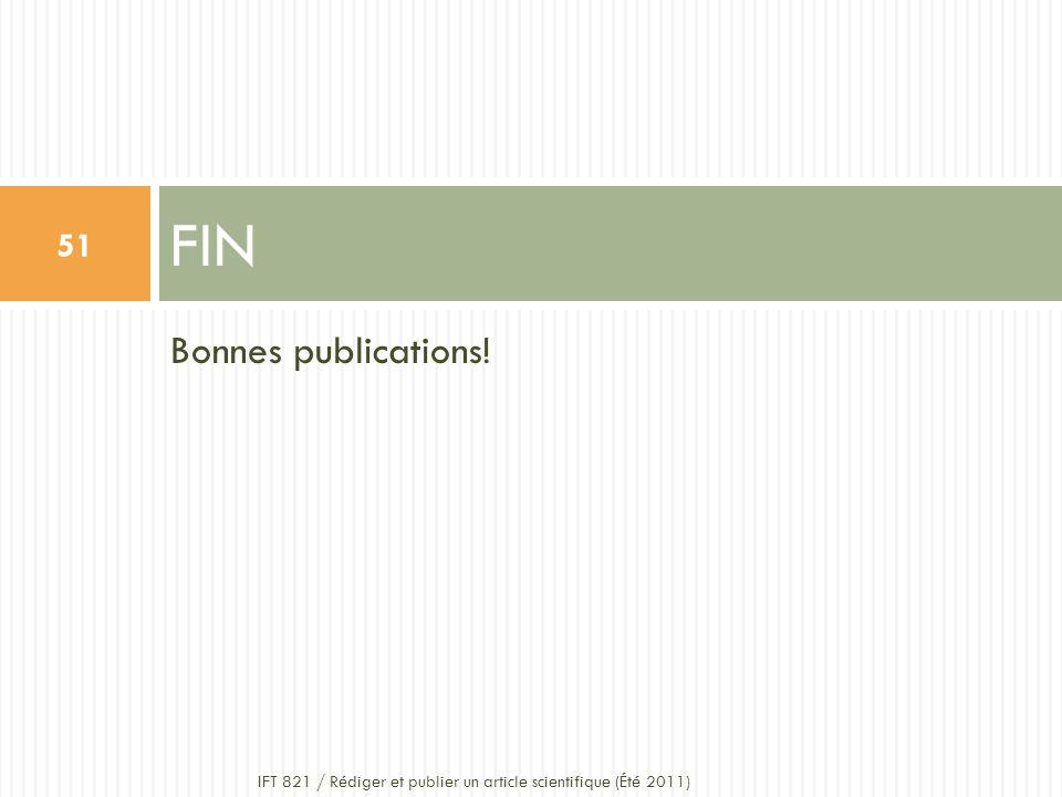 FIN Bonnes publications!