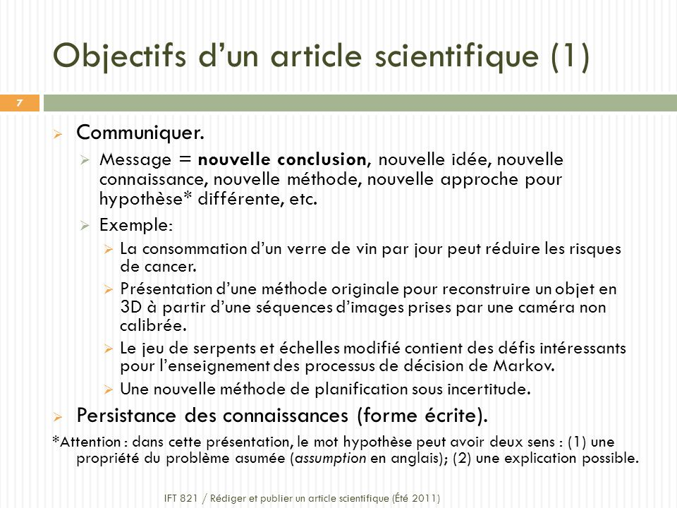 Objectifs d'un article scientifique (1)