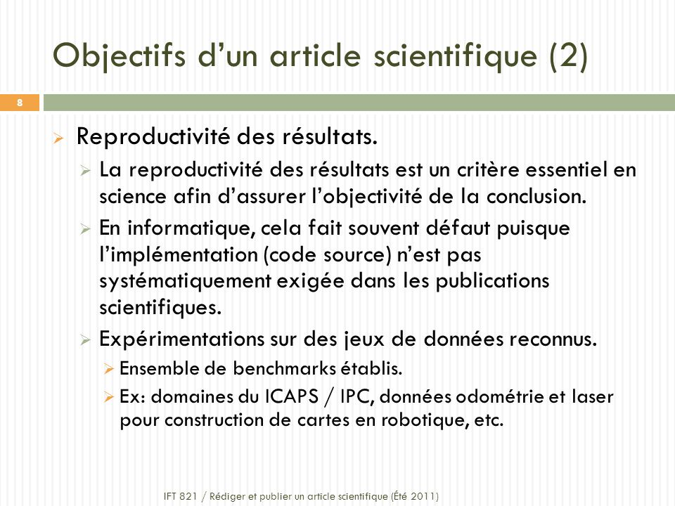 Objectifs d'un article scientifique (2)