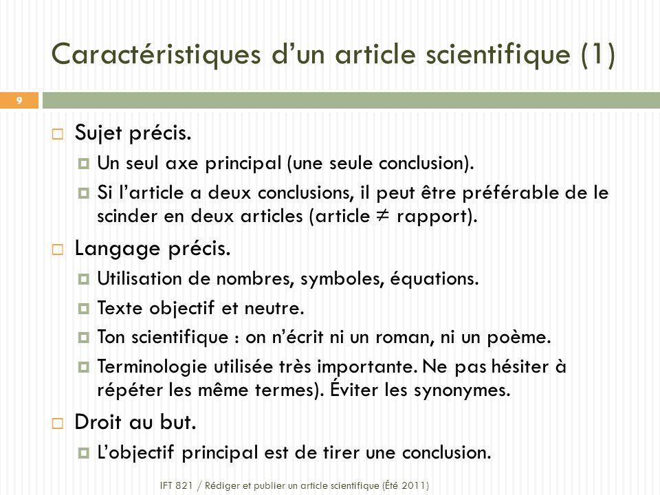 Caractéristiques d'un article scientifique (1)
