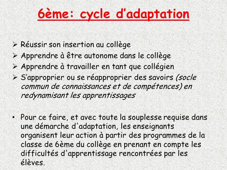 6ème: cycle d'adaptation