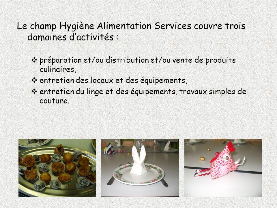 Le champ Hygiène Alimentation Services couvre trois domaines d'activités :