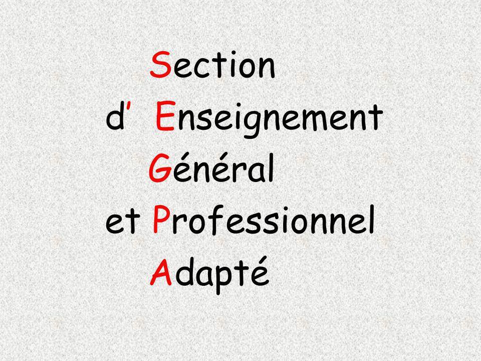 Section d' Enseignement Général et Professionnel Adapté