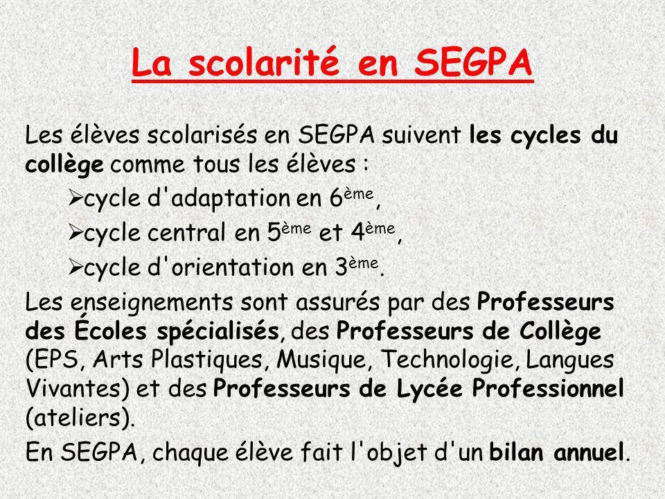 La scolarité en SEGPA Les élèves scolarisés en SEGPA suivent les cycles du collège comme tous les élèves :