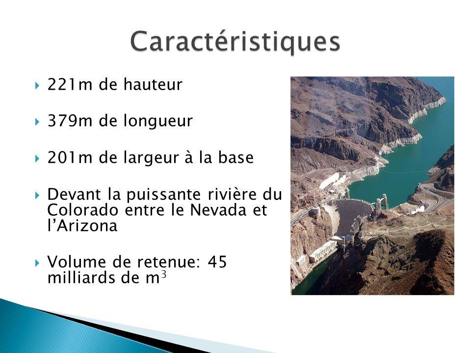 Caractéristiques 221m de hauteur 379m de longueur