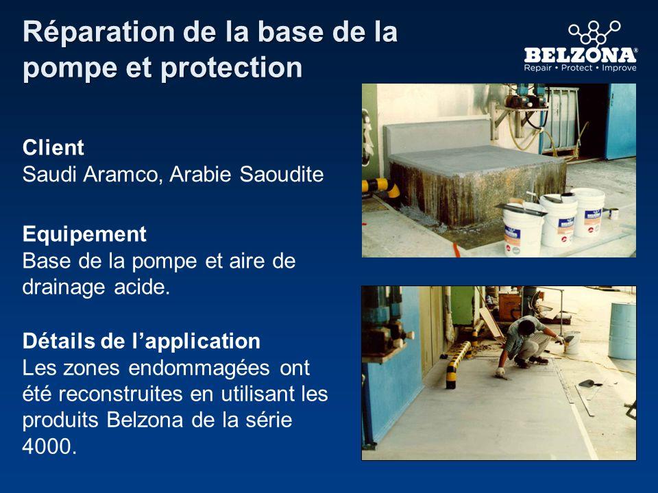 Réparation de la base de la pompe et protection