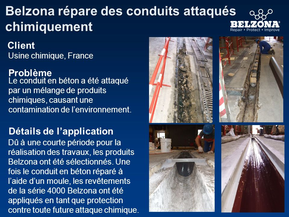 Belzona répare des conduits attaqués chimiquement