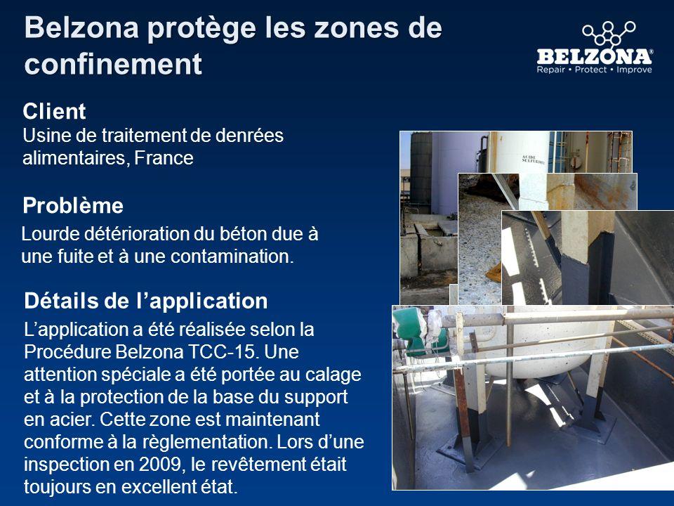 Belzona protège les zones de confinement