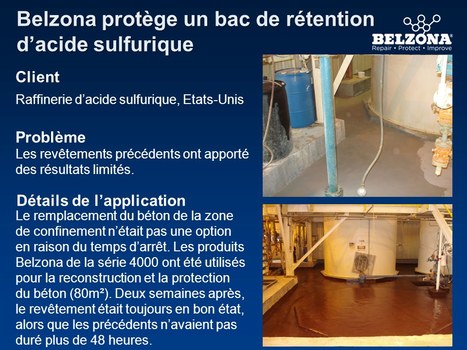 Belzona protège un bac de rétention d'acide sulfurique
