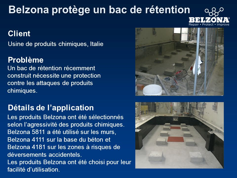 Belzona protège un bac de rétention