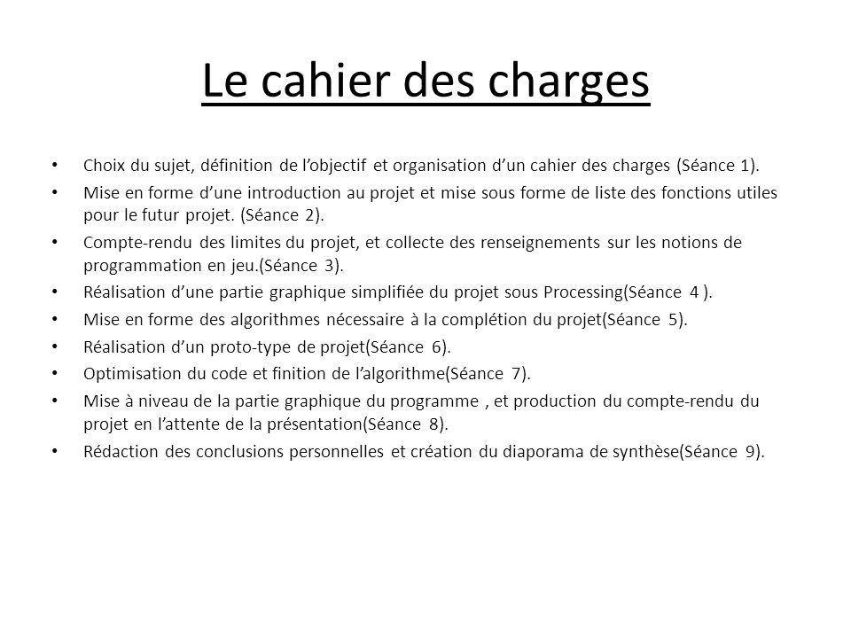 Le cahier des charges Choix du sujet, définition de l'objectif et organisation d'un cahier des charges (Séance 1).