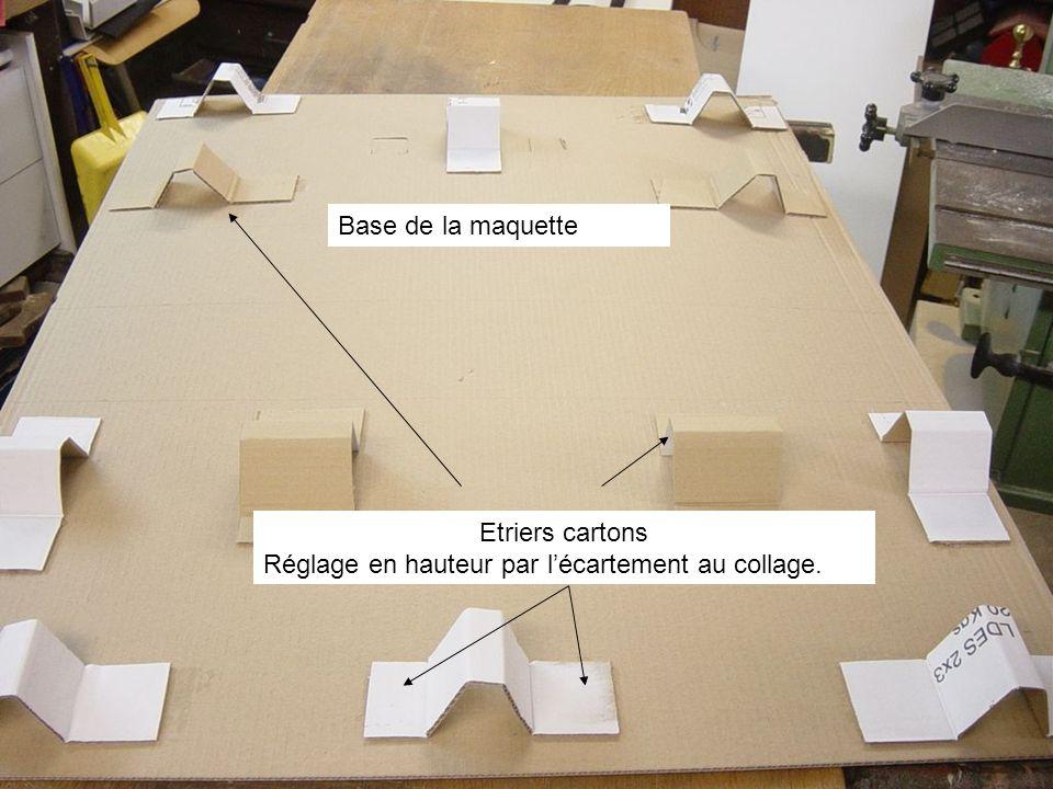 Base de la maquette Etriers cartons Réglage en hauteur par l'écartement au collage.