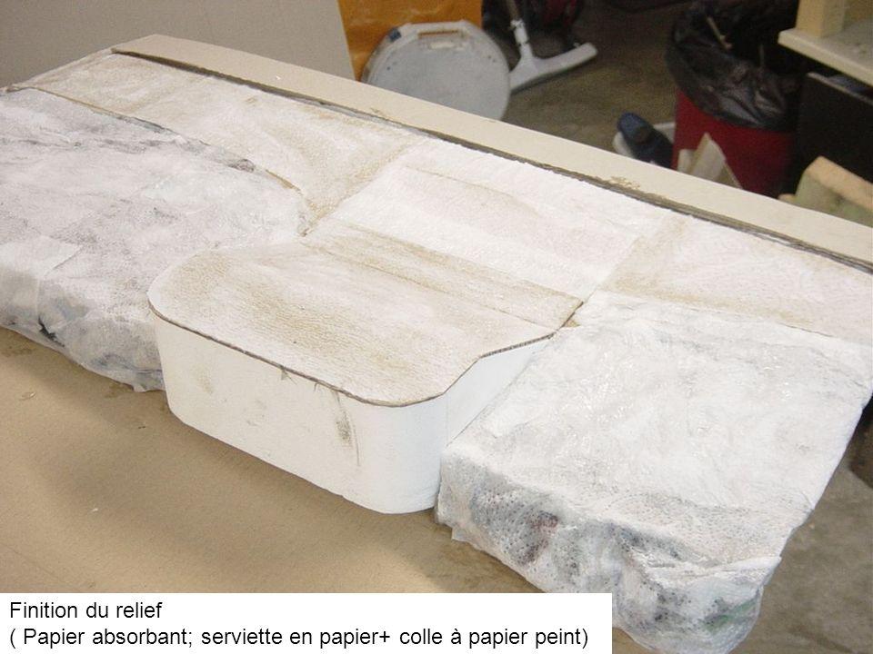 Finition du relief ( Papier absorbant; serviette en papier+ colle à papier peint)