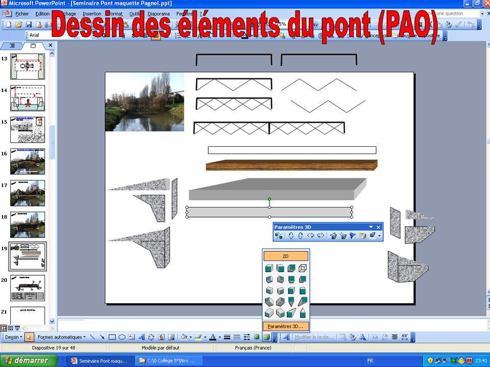 Dessin des éléments du pont (PAO)