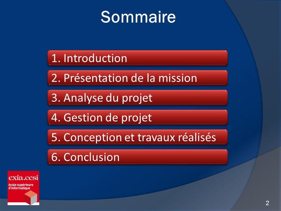 Sommaire 1. Introduction 2. Présentation de la mission