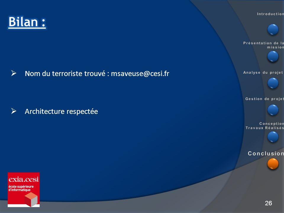 Bilan : Nom du terroriste trouvé : msaveuse@cesi.fr