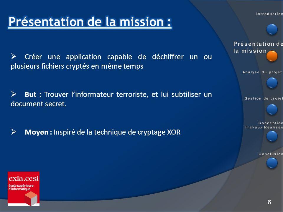 Présentation de la mission :