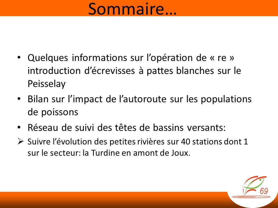 Sommaire… Quelques informations sur l'opération de « re » introduction d'écrevisses à pattes blanches sur le Peisselay.