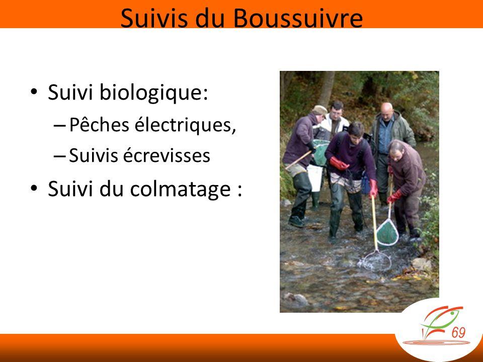 Suivis du Boussuivre Suivi biologique: Suivi du colmatage :
