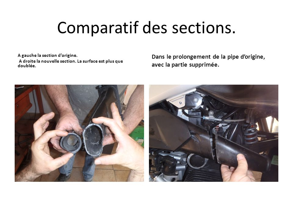 Comparatif des sections.