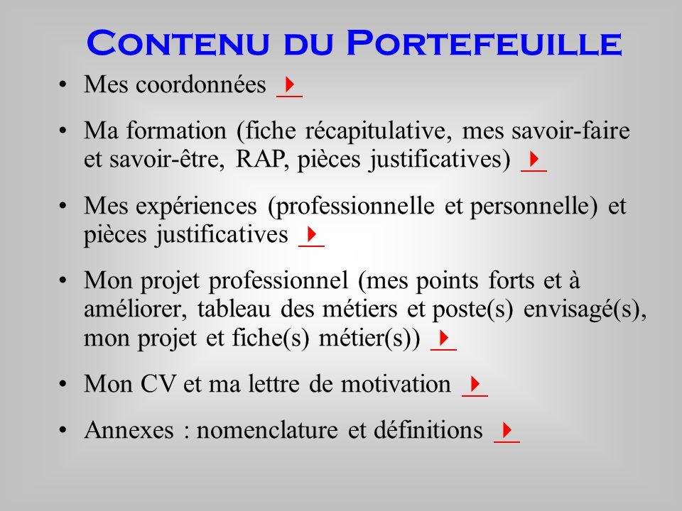 Contenu du Portefeuille