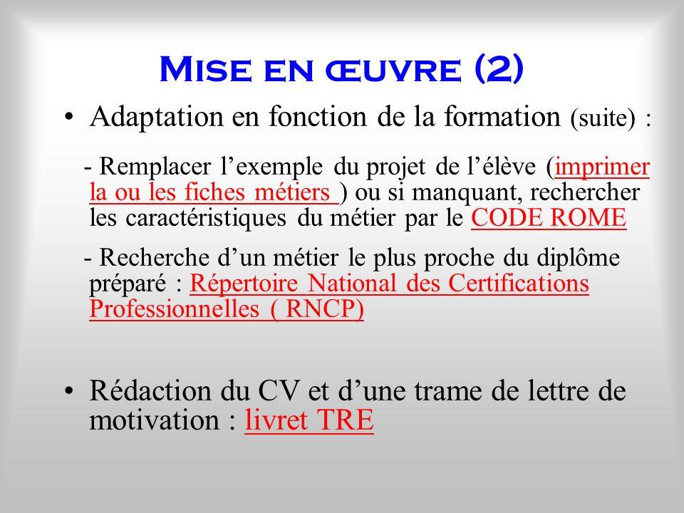 Mise en œuvre (2) Adaptation en fonction de la formation (suite) :