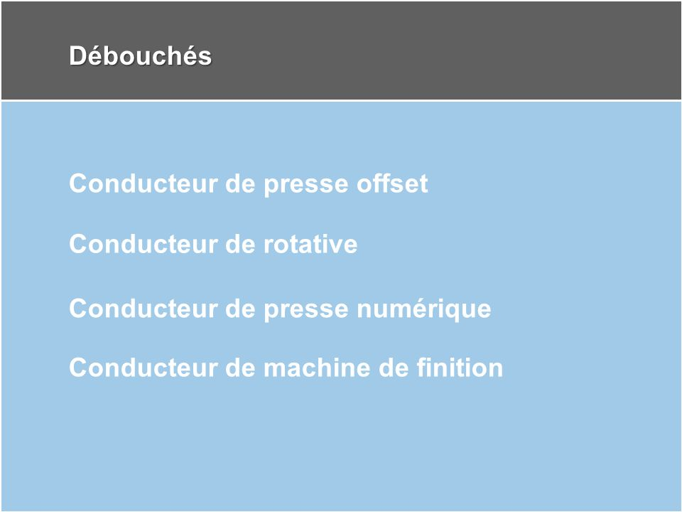 Débouchés Conducteur de presse offset. Conducteur de rotative.