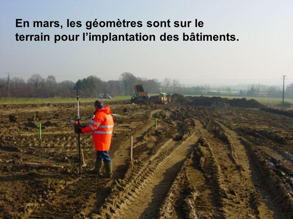 En mars, les géomètres sont sur le terrain pour l'implantation des bâtiments.
