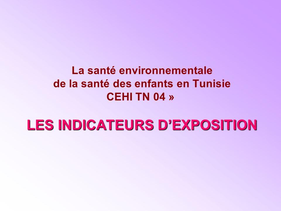 La santé environnementale de la santé des enfants en Tunisie CEHI TN 04 » LES INDICATEURS D'EXPOSITION