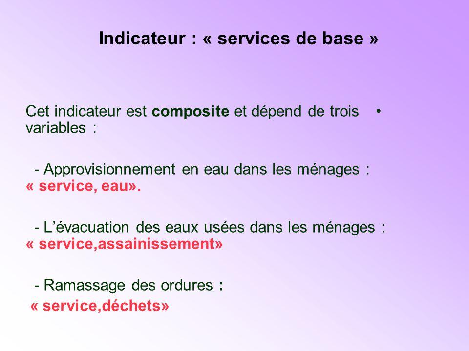 Indicateur : « services de base »