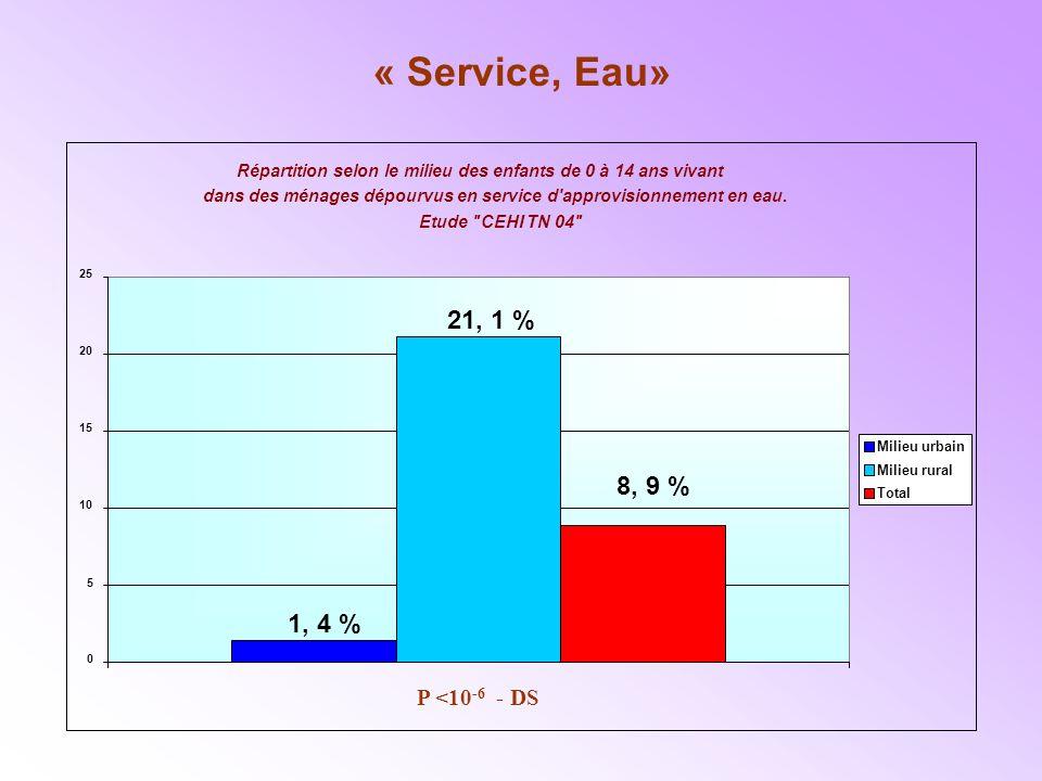 « Service, Eau» 21, 1 % 8, 9 % 1, 4 % P <10-6 - DS