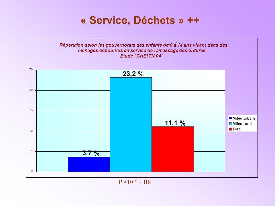 « Service, Déchets » ++ 23,2 % 11,1 % 3,7 % P <10-6 - DS